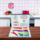 8 piece Kitchen knife cutlery set, Home Cooking Gadgets Tools, Stainless steel Multi-Colored Knives, Chef, Utility, Paring, Slicing, Bread, Cheese, Pizza, PLUS Ceramic Peeler , Premium gift box.
