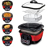 Speed Chef Digital - Multi-Cuiseur 8 EN 1 (Rouge/Noir) Appareil de cuisson