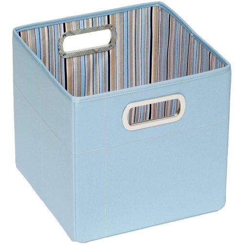 "Jj Cole Collections Storage Box, Blue Stripe, 11"" front-928665"