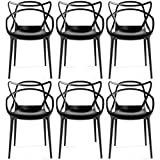 2xhome - Set of 6 Black Dining Room Chairs - Modern Contemporary Designer Designed Popular Home Office Work Indoor Outdoor Armchair Living Family Room Kitchen Bed Bedroom Porch Patio Balcony Arm Chair Swimming Pool Backyard Back Yard In Out Door Seat Vogue Trendy In Style Stylistic Artistic Art Elegant Stackable Stacking Stack - (Black)