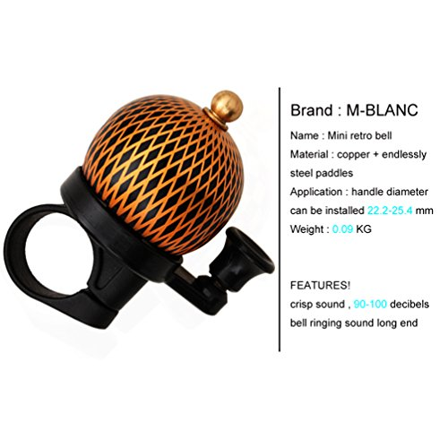 M-BLANC Mini Retro Bicycle Bell Round Handlebar Mount Copper Cover Safety Warning Bike Horn Bell 2