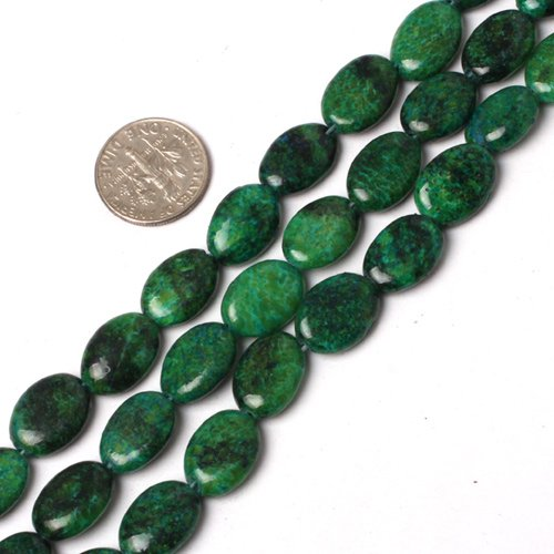 10x14mm oval gemstone green chalcedony beads