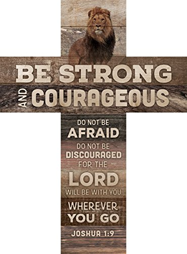 Be Strong and Courageous Joshua 1:9 African Lion 14 x 10 Wood Wall Art Cross Plaque