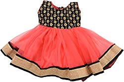 Kanchoo Girls' Long Frock (BSKF010_8-9years, Red & Black, 8-9years)