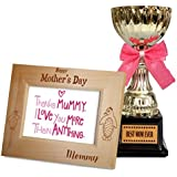 TiedRibbons Gift For Mom On Mothers Day Quotes Engraved Wooden Photo Frame With Golden Trophy