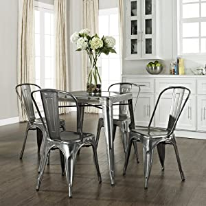 Amazon.com: Amelia Five Piece Metal Café Dining Set - Table & Four ...