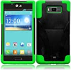Importer520 (TM) HYBRID Dual Heavy Duty T-Stand Impact Kickstand Double Layer Fusion Cover Case For Straight Talk Net 10 LG Optimus Showtime L86c L86g - Black+Neon Green