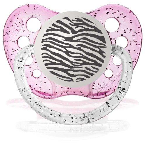 Personalized Pacifiers Zebra Print Glitter Pink Baby Pacifier Paci Binky - 1