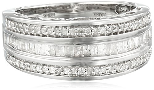 Sterling Silver Round and Baguette Diamond Band (1/2 cttw), Size 7