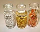 3pc Chakra Set Pure 24k Gold, .999 Fine Silver, & Copper Flakes from USA 100% Natural Healing Minerals Collectible Bottles