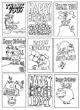 Birthday Cards, Thank You and Markers - 18 Kids Coloring Greeting Card Set