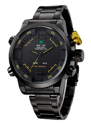 WEIDE Men Military Watch 3ATM LED Digital Analog Dual Time New Sports Quartz Wristwatches 6 Colors Watch (Black Red)