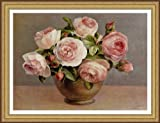 """Arrangement Of Pink Roses"" framed flowers print by Dinhui Nai, finest quality print, solid wood gold finish frame/museum matted 32"" x 25"""