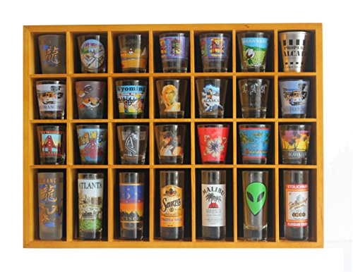 28 Shot Glass Shooter Display Case Holder Cabinet Rack, solid wood, NO Door, OAK Finish (SC11-OA) (Shot Glass Wall Display compare prices)