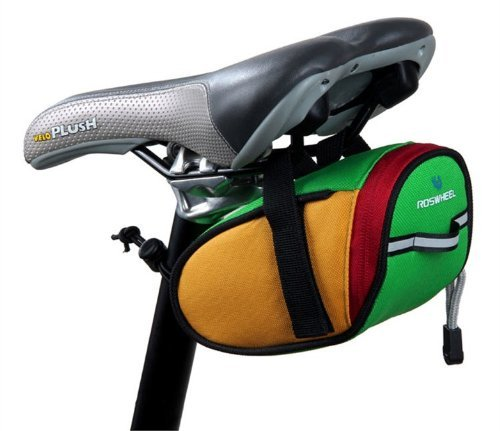 Green Bike Saddle Outdoor Pouch Back Seat Bag With Velcro Bicycle Strap-On Saddle Bag / Seat Bag With Velcro front-1014665