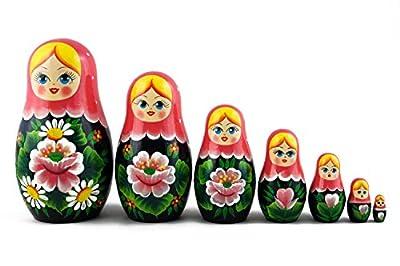 Matryoshka Russian Nesting Wooden Doll Roses Pink Headscarf 7 Pcs Stacking Hand Painting Beautiful Nested Great Craft Matriosjka Matrioska Matreshka Matrjoska Matroeska