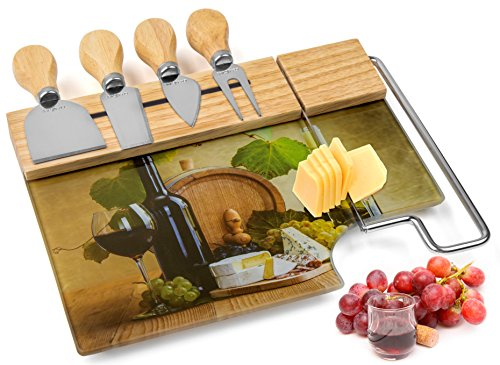 Cheese Board Cutting Set with 4 Cheese Knives and Integrated Cheese Slicer