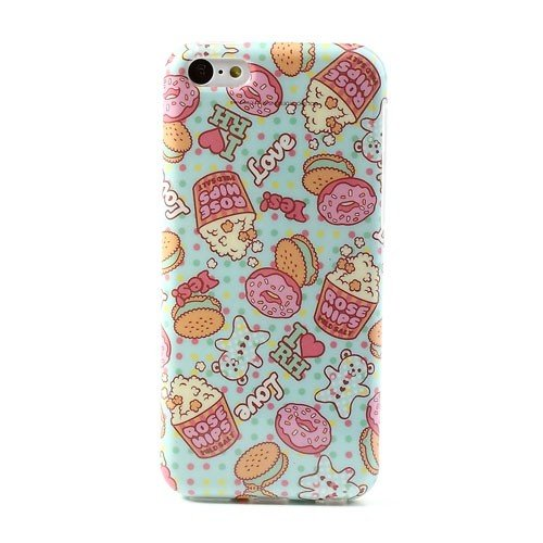 Jujeo Glossy Imd Gel Tpu Case Cartoon Donut Hips Pattern For Iphone 5C - Non-Retail Packaging - Rose
