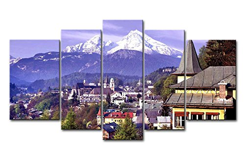 5 Panel Wall Art Painting Germany Mountains Forest Pictures Prints On Canvas City The Picture Decor Oil For Home Modern Decoration Print
