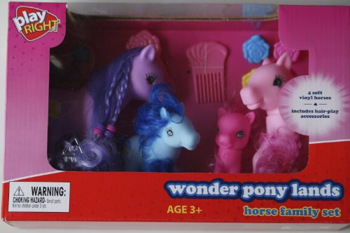 Play Right Wonder Pony Lands Horse Family Set of 4-Colors May Very - 1