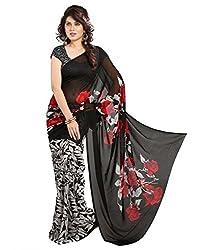 Arth Fashion Women's Georgette printed Saree With Blouse Piece (DANI1_Black_FreeSize)