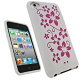IGadgitz White & Pink Flowers Silicone Skin Case Cover for Apple iPod Touch 4th Generation 8gb, 32gb, 64gb + Screen Protector
