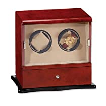 Dark Burlwood Gloss Finish Vertical Double Watch Winder