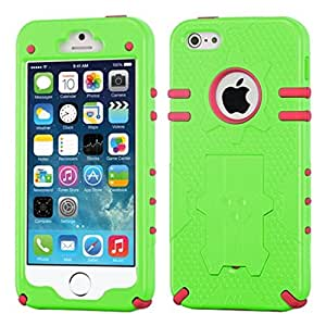 MYBAT Phantom Hybrid Protector Cover with Kickstand for Apple iPhone 5/5S - Retail Packaging - Natural Pearl Green/Electric Pink