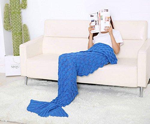 """2016 Neueste gestrickt Mermaid Schwanz Decke und Mermaid Decke für Erwachsene und Kinder, All Seasons Super Soft Schlafsäcke, 75 """" * 34"""" (Tiefblau)"""