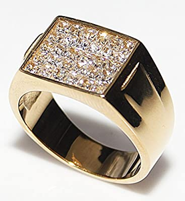 Men's Gold Over Stainless Steel Highest Grade Square Cut Cubic Zirconia Ring. 8.20GR Total Weight. 11mm Total Weight. Very High End Designed Ring. Outstanding Quality.