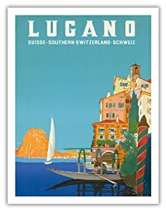 Lugano - Suisse Southern Switzerland Schweiz - Lake Lugano - Vintage World Travel Poster by Leopoldo Metlicovitz c.1958 - Fine Art Print - 20in x 26in