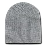 Decky 8 Inch Short Knit Watch Cap Beanie (One Size, Heather Grey)