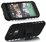 myLife Vintage Black {Rugged Design} Two Piece Neo Hybrid (Shockproof Kickstand) Case for the All-New HTC One M8 Android Smartphone - AKA, 2nd Gen HTC One (External Hard Fit Armor With Built in Kick Stand + Internal Soft Silicone Rubberized Flex Gel Full Body Bumper Guard)