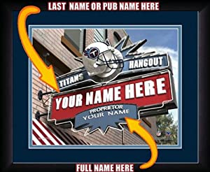 NFL Personalized Sports Pub Custom Framed Hangout Print Tennessee Titans License by You