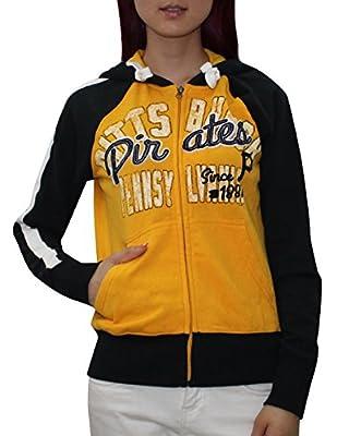 MLB PITTSBURGH PIRATES Womens Athletic Zip-Up Hoodie (Vintage Look)
