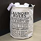 HOKIPO 63-Litre 'Laundry Rules' Folding Round Laundry Bag. (White)