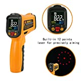 Infrared thermometer, Janisa PM6530B Non Contact Digital Laser Thermometer Infrared Thermometer Temperature Gun Circle Color Display -50? to 550? With 12 Point Aperture Temperature Alarm Function