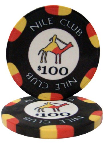 25 $100 Nile Club 10 Gram Ceramic Casino Quality Poker Chips