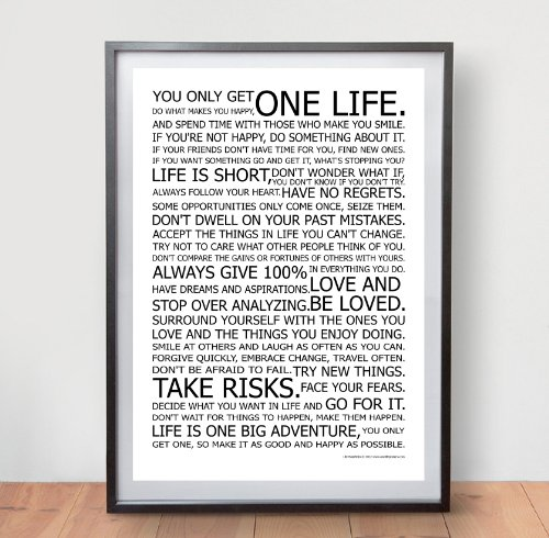 MANIFESTO POSTER LIFE - il famoso originale Motivational Quote Stampa Wall Art Immagine - Dimensione A2 (420 x 594 mm)