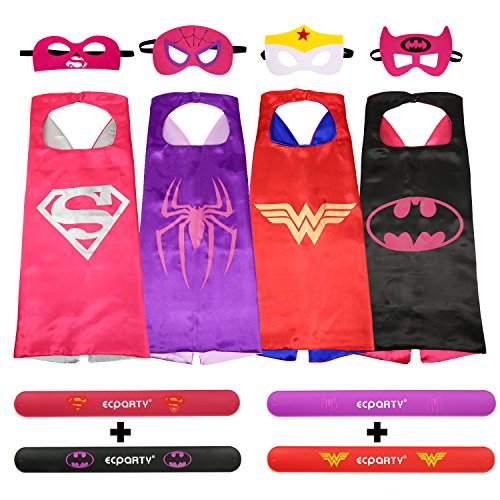 4 Different Superheros Cape and Mask with Wristbands Costumes Set For Girl