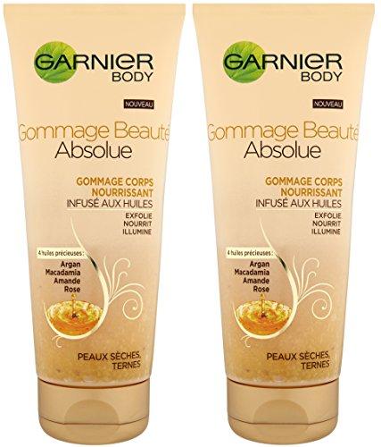Garnier, Scrub corpo nutriente con oli di argan, Macadamia, mandorle e rosa, 2 pz.