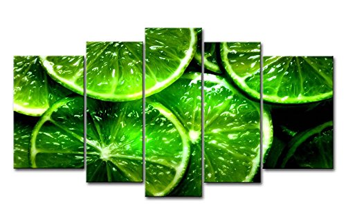 So Crazy Art Green 5 Panel Wall Art Painting Lime Citrus Green Prints On Canvas The Picture Food Pictures Oil For Home Modern Decoration Print Decor