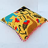 Home Decor Floral Suzani Pillow Cases Embroidered Cushion Covers 16X16