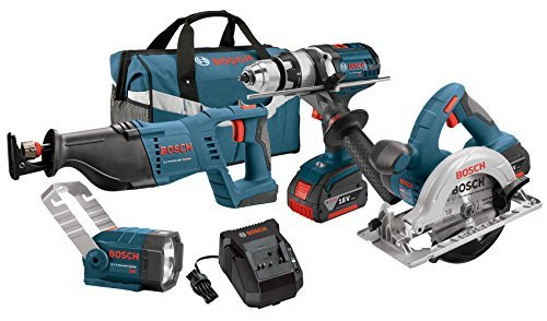 Bosch CLPK402-181 18-Volt 4-Tool Lithium-Ion Cordless Combo Kit with 1/2-Inch Hammer Drill/Driver, Reciprocating Saw, Circular Saw and Flashlight by Bosch (Bosch 18 Volt Combo compare prices)