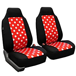 FH-FB115102 Polka Dots Car Pair Bucket Seat Covers for Car Van and SUV, Red color- Fit Most Car, Truck, Suv, or Van