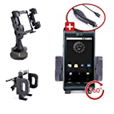 Automobile Multi-Fixture Support For LG Optimus 4X & Optimus GT540 Phone + Dash Disc & Car Charger By DURAGADGET