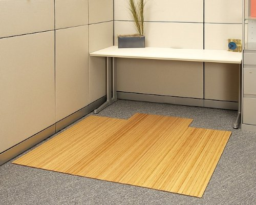 "55"" x 57"" Natural 1/4"" Thick Bamboo & Hardwood Office Chair Mat"