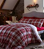Catherine Lansfield Stockholm Brushed Cotton King Size Quilt Set, Red