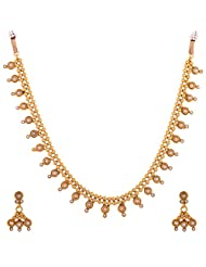 1 Gram Gold Plated Tradional Necklace Set With Pearls