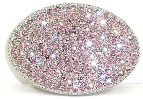 Pink Crystal Rhinestone Nickel Plated Oval Belt Buckle